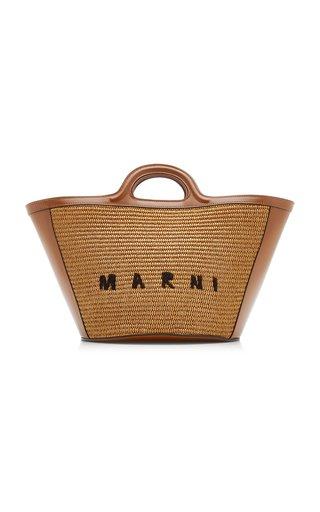 Tropicalia Leather-Trimmed Raffia Tote Bag