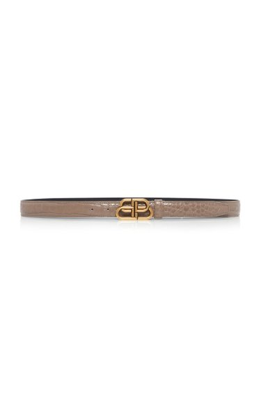 BB Thin Croc-Effect Leather Belt