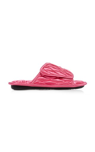 Home Quilted Satin Slide Sandals
