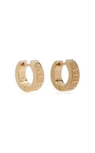 Force Striped Gold-Plated Mini Hoop Earrings