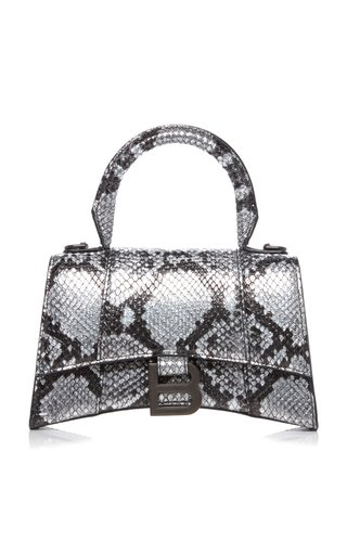 Hourglass XS Snake-Effect Leather Bag