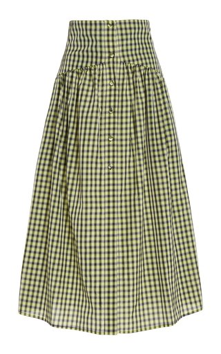 Check Printed Taffeta Midi Skirt