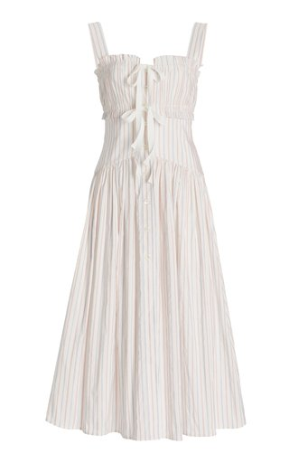 Striped Poplin Midi Dress