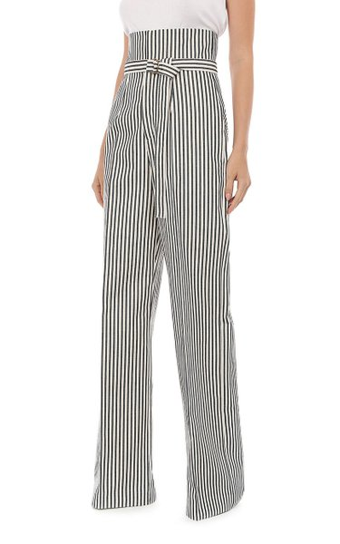Striped Drill High Waisted Belted Trouser
