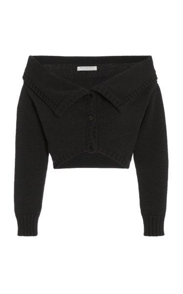 Off-The-Shoulder Cotton-Knit Cardigan