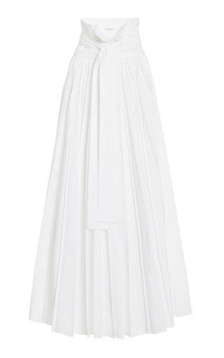 Pleated Poplin Maxi Skirt
