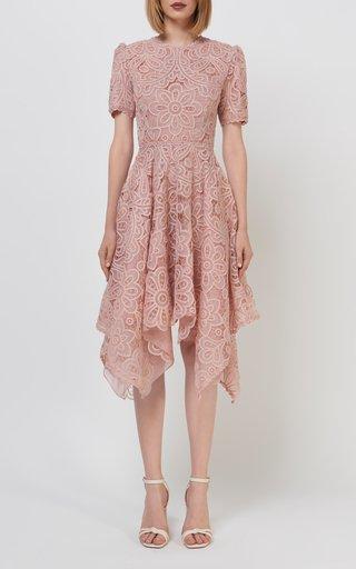 Raisie Embroidered Organza Handkerchief Dress