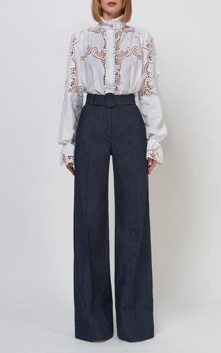 Milena Linen Button-Down Blouse