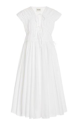 Ceres Pleated Organic Cotton Midi Dress