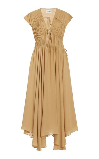 Flores Pleated Georgette Silk Dress