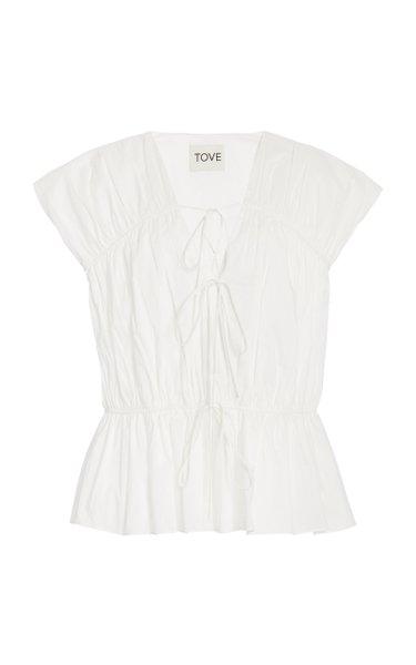 Thea Pleated Organic Cotton Top