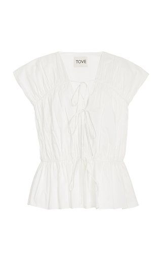 Thea Pleated Organic Cotton Top
