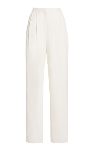 Arlet Pleated Cady Straight-Leg Trousers