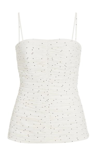 Vivian Spotted Ruched Cotton Top