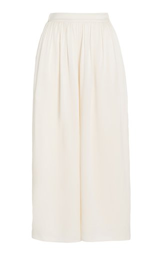 Nola Pleated Silk Wide-Leg Trousers