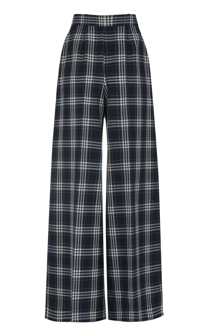 Plaid Woven Wide-Leg Pants