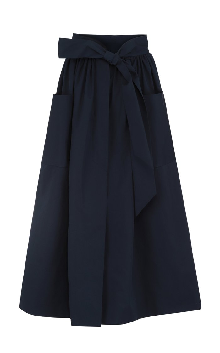 Belted Cotton A-Line Midi Skirt