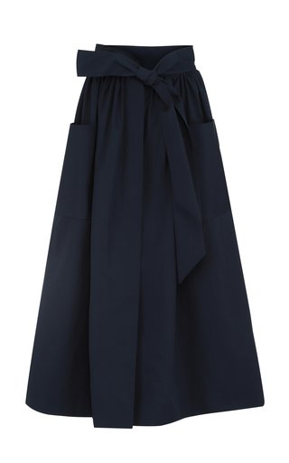 Belted A-Line Cotton Midi Skirt