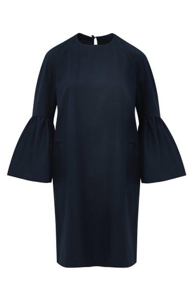 Bell-Sleeve Cotton A-Line Midi Dress