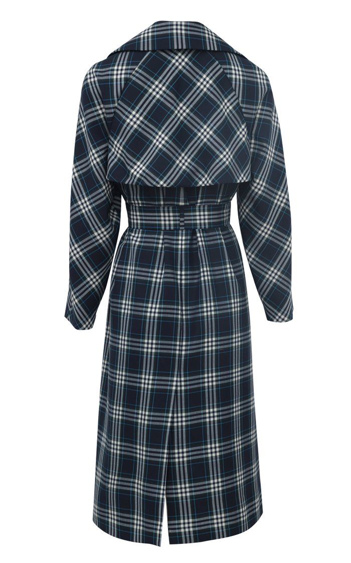 Plaid Woven Trench Coat