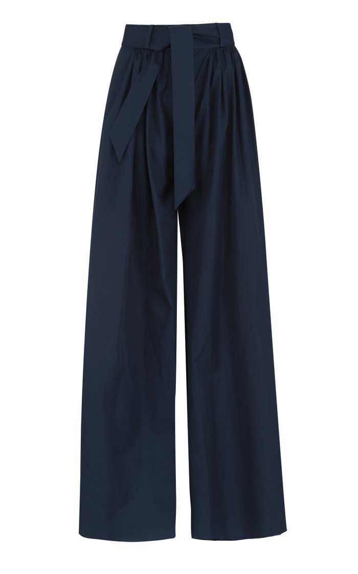 Belted Cotton Wide-Leg Pants
