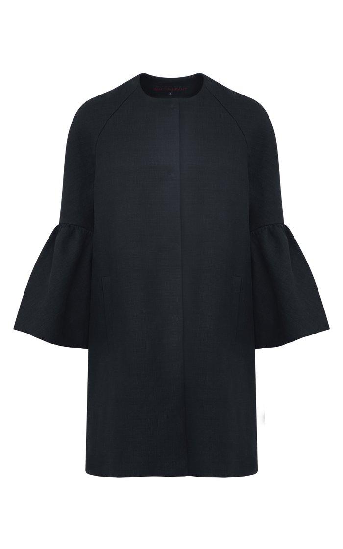 Bell-Sleeve Ramie-Cotton Coat