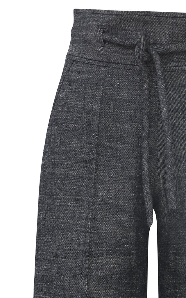 Belted Linen-Silk Wide-Leg Pants