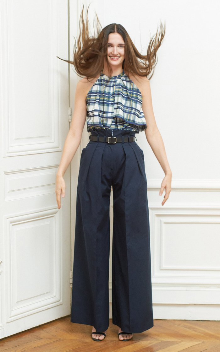 Pleated Cotton Paperbag-Waist Pants