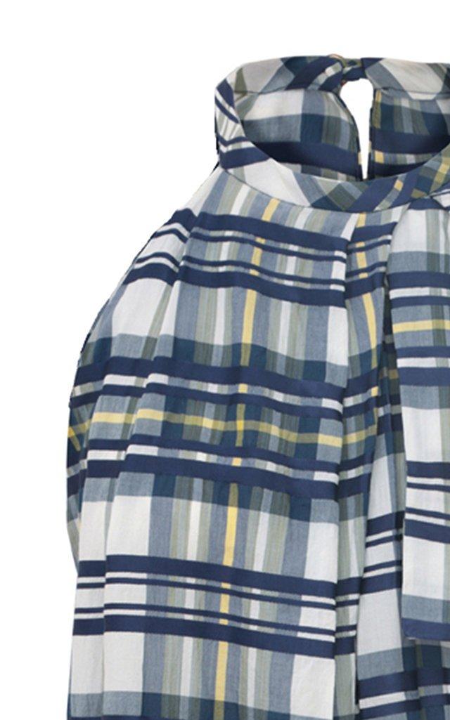 Asymmetric Draped Plaid Cotton-Blend Top