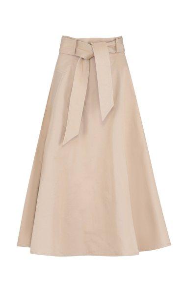 Belted Cotton Midi Circle Skirt
