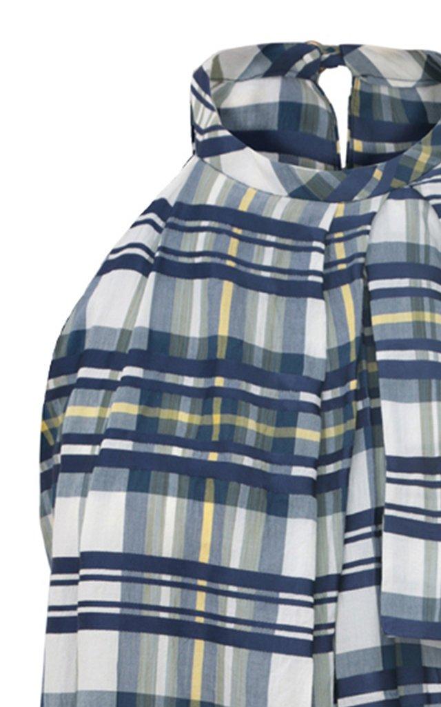 Asymmetric Draped Plaid Cotton-Blend Mini Dress