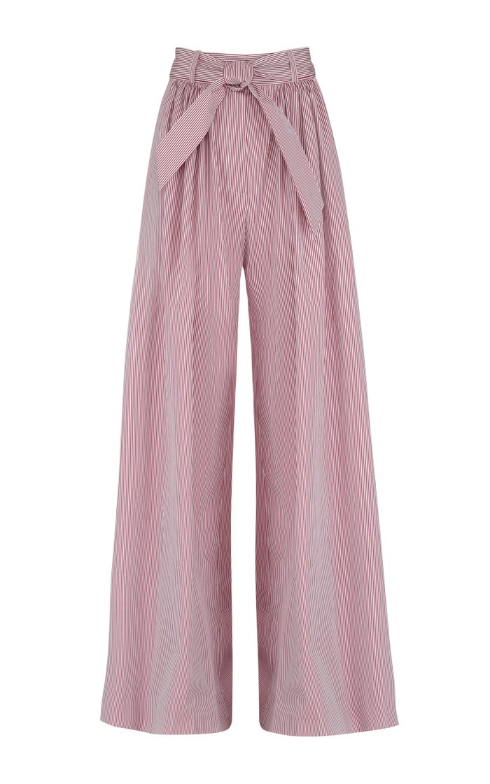 Belted Striped Cotton Wide-Leg Pants