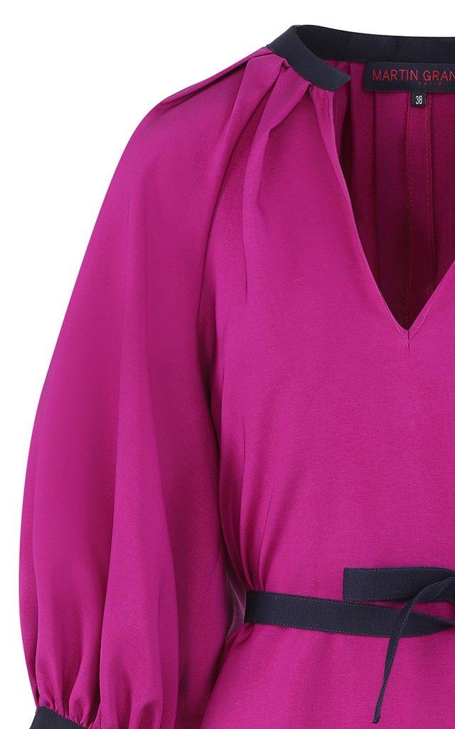 Belted Silk Balloon-Sleeve Midi Dress