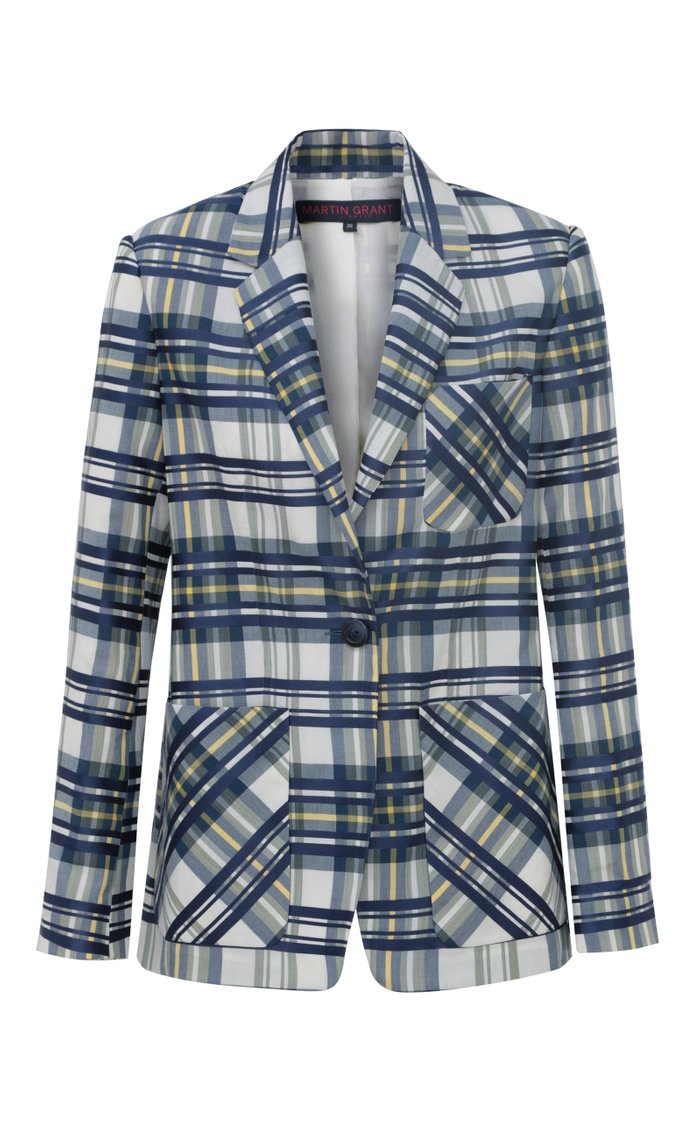 Plaid Cotton-Blend Blazer