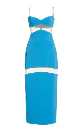 Illusion-Paneled Crepe Midi Dress