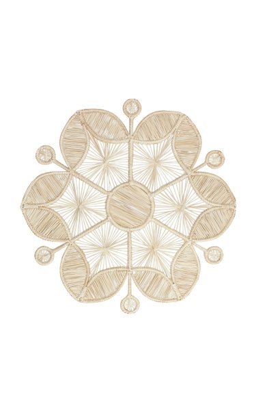 Set-Of-Two Raffia Flower Placemats
