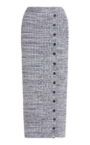 Melange Ribbed-Knit Midi Skirt