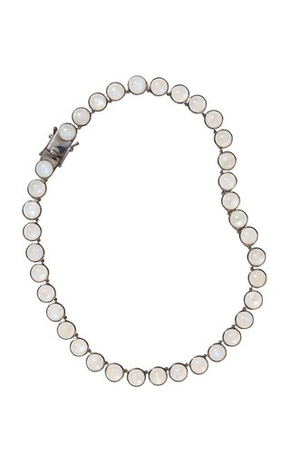 Nakard Large Dot Sterling Silver Rainbow Moonstone Riviere Necklace