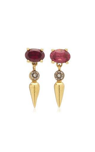Shirley 18K Yellow Gold Rhodolite, Diamond Earrings