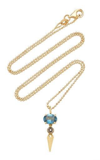 Shirley 18K Yellow Gold Topaz, Diamond Necklace