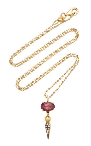 Shirley 18K Yellow Gold Rhodolite, Diamond Necklace