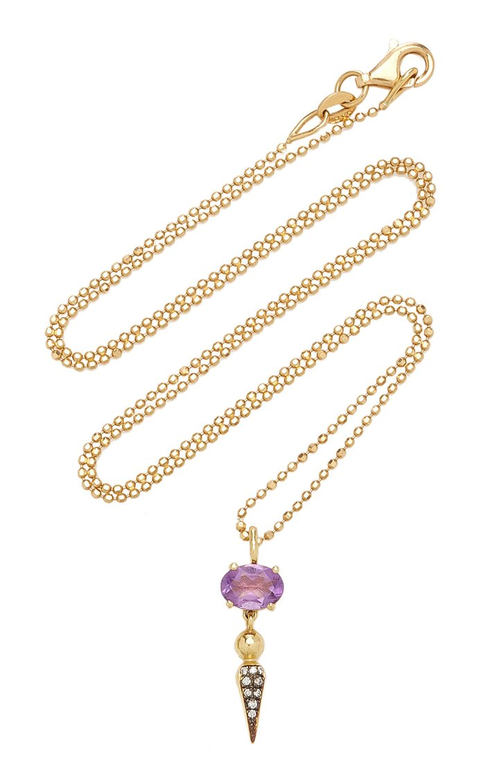 Shirley 18K Yellow Gold Amethyst, Diamond Necklace