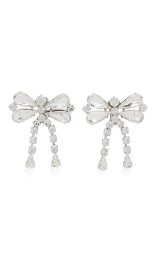Crystal-Embellished Silver-Tone Bow Earrings
