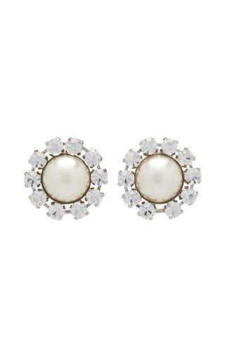 Crystal And Pearl Statement Stud Earrings