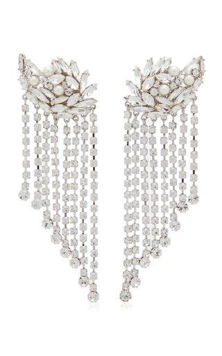 Crystal-Embellished Silver-Tone Earrings