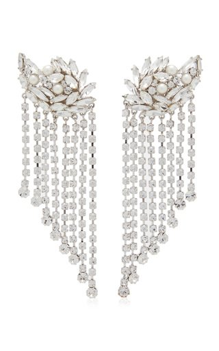 Crystal-Embellished Silver-Tone Earrings