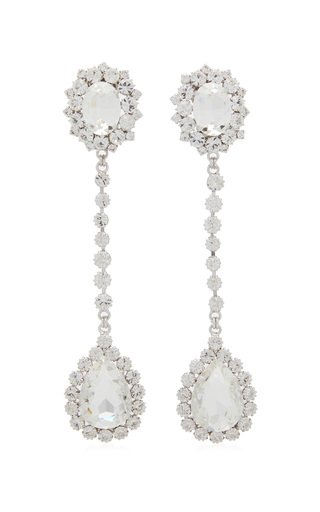 Crystal-Embellished Silver-Tone Drop Earrings