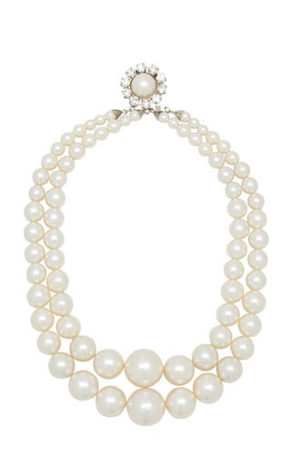Pearl-Embellished Silver-Tone Necklace