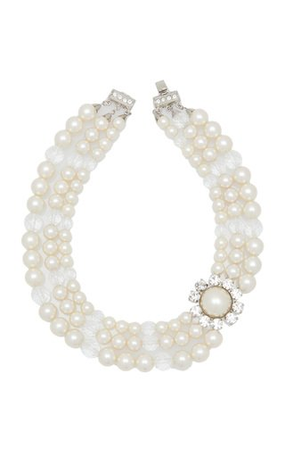 Pearl And Crystal Layered Necklace