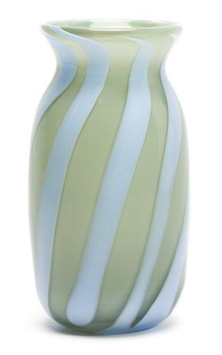 Diagonal-Striped Glass Vase